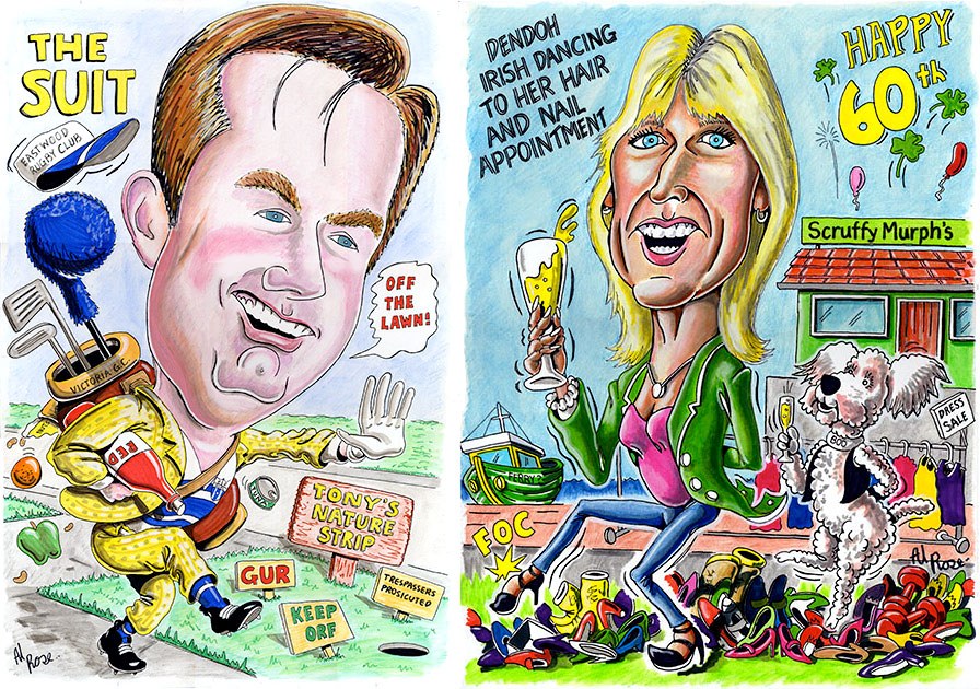 Caricature of Denise to match caricature of Tony