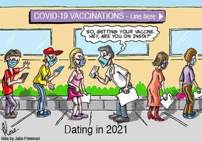dating, masks, vaccinations, insta, queue