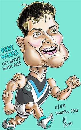 Caricature of the 2021 Brownlow medalist, Ollie Wines