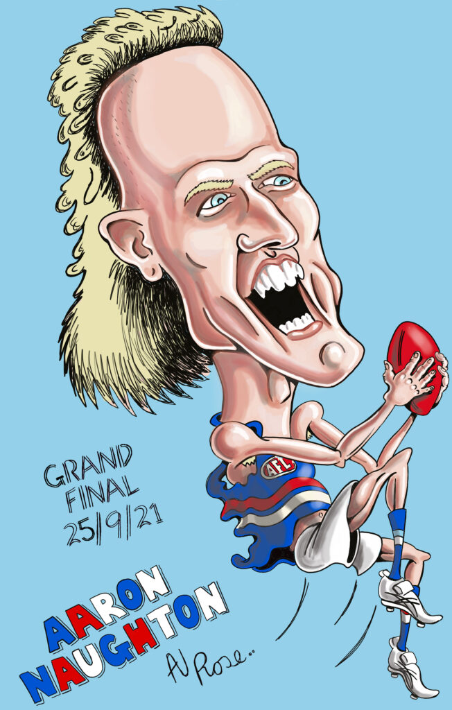 Aaron Naughton caricature - Bulldogs - 2021 AFL Grand Final